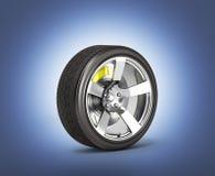 Bilhjul med bromsen som isoleras på mörkt - blå lutningbakgrund glöder i den mörka 3den royaltyfri illustrationer