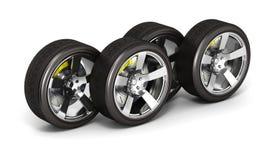 Bilhjul med bromsen som isoleras på vit bakgrund 3d stock illustrationer