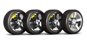 Bilhjul med bromsen som isoleras på vit bakgrund 3d vektor illustrationer