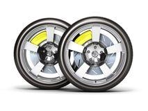 Bilhjul med bromsen som isoleras på vit bakgrund 3d royaltyfri illustrationer
