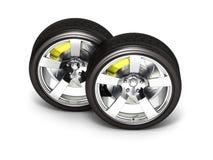 Bilhjul med bromsen som isoleras p? vit bakgrund 3d stock illustrationer