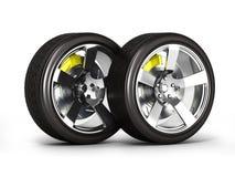 Bilhjul med bromsen som isoleras p? vit bakgrund 3d vektor illustrationer