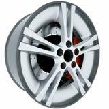 Bilhjul på vit bakgrund Kant för aluminiummetallhjul framförande 3d stock illustrationer