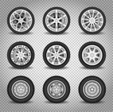 Bilhjuluppsättning vektor illustrationer