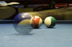 Biliard balls in motion. Horizontal orientation Royalty Free Stock Photography