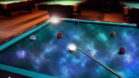 Biliard with planets. Planets and stars in beautiful coloured deep space. Let your imagination work Stock Image