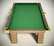 Biliardo con il panno verde su fondo bianco illustrazione 3D Immagini Stock