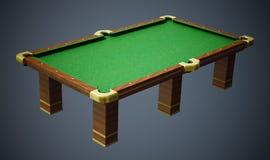 Biliardo con il panno verde su fondo grigio illustrazione 3D Immagine Stock