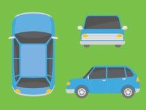 Bilillustrationsikt från all sidoframdelöverkant royaltyfri illustrationer