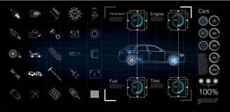 Bilinfographics, diagnostik av fel och fel i bilen royaltyfri illustrationer