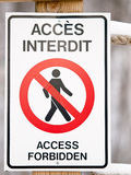 Bilingual Access Forbiden Sign Stock Images