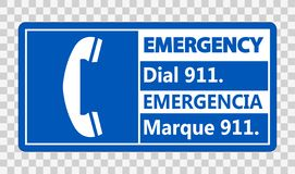 symbol Bilingual Emergency Dial 911 Sign on transparent background royalty free illustration