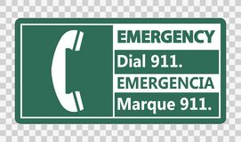 Symbol Bilingual Emergency Dial 911 Sign on transparent background. Bilingual Emergency Dial 911 Sign on transparent background royalty free illustration