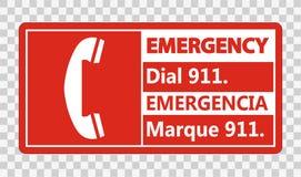 Symbol Bilingual Emergency Dial 911 Sign on transparent background. Bilingual Emergency Dial 911 Sign on transparent background royalty free illustration