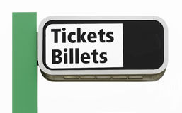 Bilingual Overhead Ticket Sign Stock Photography