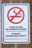 Bilingual sign. Bilingual no smoking sign Stock Image