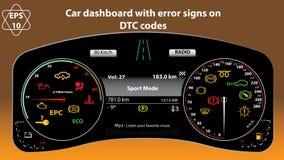 Bilinstrumentbräda i format Samling av bilpanelindikatorer, guling, rött som är grön, indikatorer, mått, r/min, DTC-koder royaltyfri illustrationer