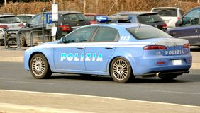 bilitaly polis royaltyfria bilder