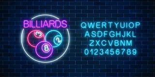 Biljartballen in cirkelkader in neonstijl met alfabet Gloeiend neonuithangbord van bar met biljart vector illustratie