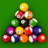 Biljartballen met aantallen Stock Afbeelding