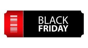 Biljett Black Friday för special händelse stock illustrationer