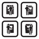 Biljett eller ATM-maskinsymbol i fyra variationer Royaltyfria Bilder