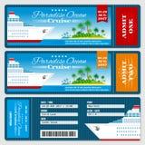 Biljett för passerande för logi för kryssningskepp Mall för vektor för bröllopsresabröllopinbjudan vektor illustrationer
