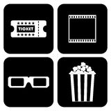 Biljett film, 3D exponeringsglas, popcorn vektor illustrationer