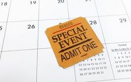 Biljett och kalender Arkivbild
