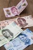 Biljetter av 20, 50, 200 och 500 mexikanska pesos verkar för att vara ledsna Royaltyfri Foto