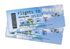 Biljetter för flygbolaglogipasserande till Moskva Arkivfoto
