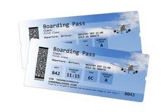 Biljetter för flygbolaglogipasserande som isoleras på vit Fotografering för Bildbyråer