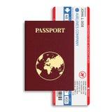 Biljetter för för vektorflygbolagpassagerare och bagage (logipasserande) med barcode- och internationalpasset Royaltyfri Foto