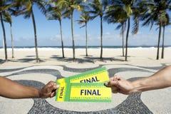 Biljetter till den sista händelsen för fotbollfotboll i Copacabana Rio Brazil Arkivbild