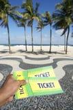 Biljetter till fotbollfotbollhändelsen i Copacabana Rio Brazil Royaltyfria Bilder
