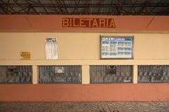 Biljettkontor på järnvägsstation i Tirana albacoren arkivfoton