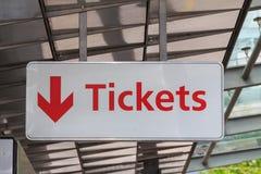 Biljetttecken Arkivfoto
