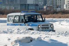 Bilkonkurrenser för poliser Arkivfoto