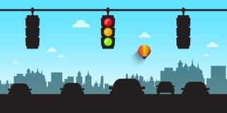 Bilkonturer med trafikljus och horisont Royaltyfri Fotografi