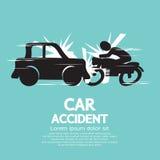 Bilkrasch med motorcykeln. Arkivfoto