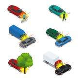 Bilkrasch, nöd- katastrof Auto olycka som gäller gatan för stad för bilkrasch Isometrisk illustration för plan vektor 3d Royaltyfri Bild