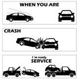 Bilkrasch och olycka Royaltyfria Bilder