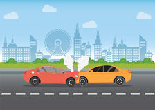Bilkrasch på vägen vektor illustrationer