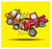 Bilkraschen åker lastbil taxivägen Vektor Illustrationer