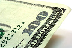 Bill. One hundred dollar bill on white background Royalty Free Stock Photo