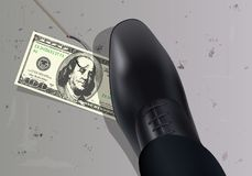A $ 100 bill, attached to a hook, is placed on the ground to attract a man attracted by money. stock illustration