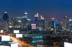 Bill board with Bangkok cityscape,modern building at twilight time Royalty Free Stock Photo