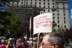 Bill C-51 (Anti-Terrorism Act) Protest in Vancouver Stock Images