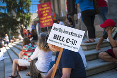Bill C-51 (Anti-Terrorism Act) Protest in Vancouver royalty free stock photo