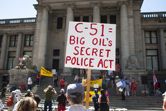 Bill C-51 (Antiterreurakte) Protest in Vancouver Stock Foto's